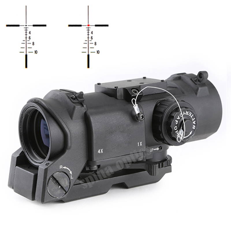 Hunting Tactical Rifle <font><b>Scope</b></font> Quick Detachable <font><b>1X</b></font>-<font><b>4X</b></font> Adjustable Dual Role Red Sight QD Mount With Mini Dot Rail Mount image