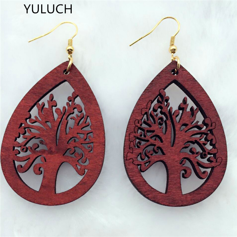 YULUCH personality New design Big handmade Natural african wood earring for women art jewelry for girl  lot