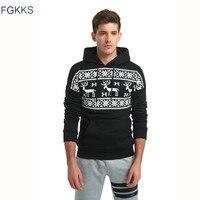 FGKKS 2017 New Brand Hoodie Deer Printing Hoodies Men Fashion Tracksuit Male Sweatshirt Off White Hoody