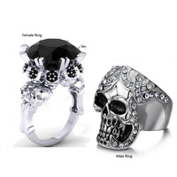 Size 5 12 Fashion Punk Jewelry 10KT White Gold Filled Stainless Steel Black CZ Diamond Women