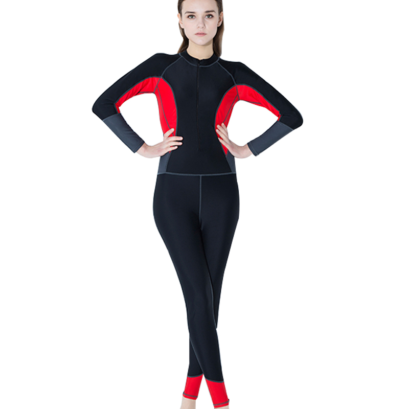 Full Body Rush Guard Patchwork Two Piece Wetsuit 2018 Long Sleeve Bodysuit Swimsuit Knee Professional Women Diving Suit Wetsuit