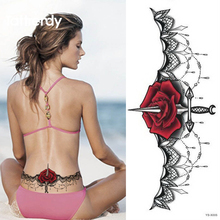 1pc Cool Chest Tattoo Stickers Large Flower Shoulder Arm Sternum Tattoos Sleeve Body Paint Rose Sword Black Fire Sexy Girl