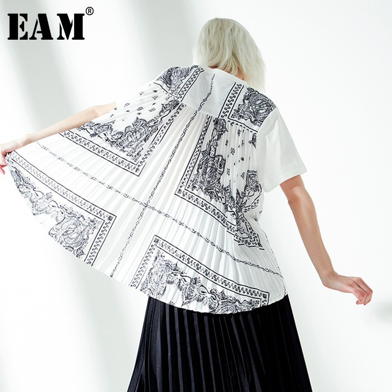 [EAM] 2020 New Spring Summer Round Neck Short Sleeve Back Pattern Pleated Stitch Loose T-shirt Women Fashion Tide JT211