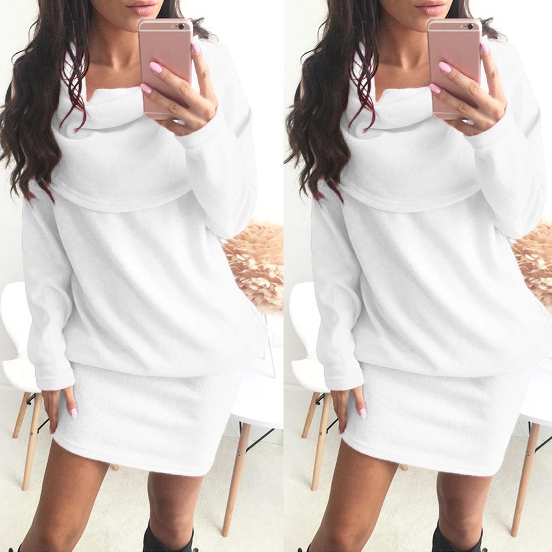 4032664cdc7 Turtleneck Long Sleeve Slim Loose Dress Sweaters Pullovers Plus Size  Streetwear Cosy Dress Women Winter Dress