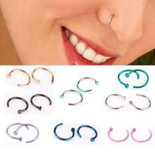 6 мм 8 мм 10 мм маленький тонкий хирургический стальной нос для губ открытый обруч кольцо C Тип Кольцо для пирсинга гвоздики ювелирные изделия для тела 8 цветов