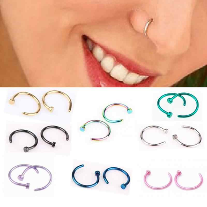 6mm 8mm 10mm Small Thin Surgical Steel Nose Lip Open Hoop Ring C Type Hoop Piercing Stud Body Jewelry 8 Colors