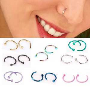 Jewelry Ring Hoop Stud-Body Open Nose C-Type Surgical Steel Small 8-Colors 10mm 8mm Lip