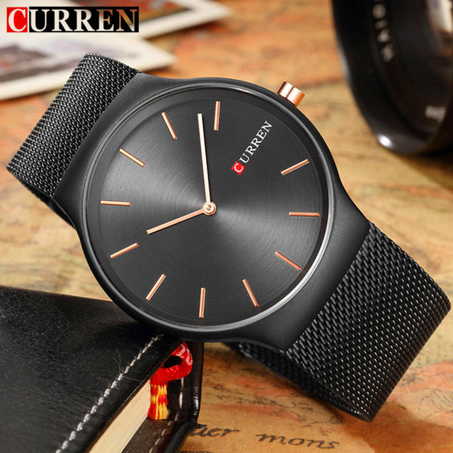 NEW Curren Men Watches Top Brand Luxury Simple Ultra Thin Black Watches Men Quartz Whatch Male Clock Relogio Masculino 8256 2017 mens watches top brand guanqin leather strap casual watches simple ultra thin men quartz watch male clock relogio masculino