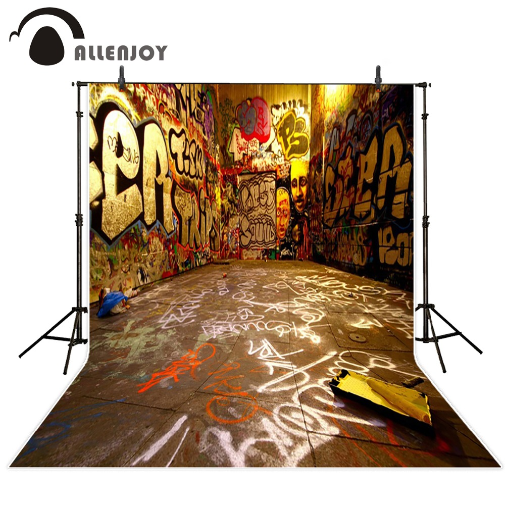 free shipping 5ft 7ft 150cm 215cm photography backdrops graffiti street Hip Hop photography background