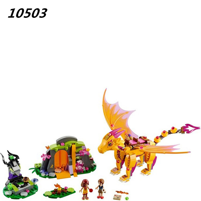 AIBOULLY 2017 New 10503 Fire Dragon's Lava Cave Figures Building Block 446pcs Fairy Building Bricks Toys for Children Gift jie star fire ladder truck 3 kinds deformations city fire series building block toys for children diy assembled block toy 22024