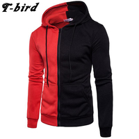 T Bird Brand Men Hoodies 2017 Male Long Sleeve Hoodie Two Color Stitching Sweatshirt Men Warm