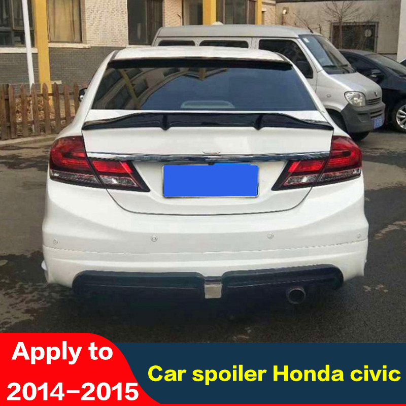 CEYUSOT For Real Carbon Accessories Spoiler OLD Honda Civic 2014 2015 CAR Trunk Black Rear Lip WING Tail Refit Splitter R Style