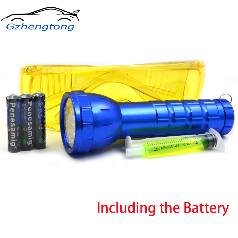 Gzhengtong Auto Air Conditioning Flashlight Leak Detector Tool Fluoroscopic Leak Test Flashlight Protective Glasses 28 LED Torch