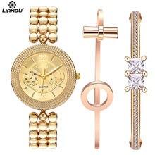 LIANDU Brand Women Quartz Watches CZ Diamond Jewelry Bracelet Watch Set Gold Strap Women Dress Wristwatches