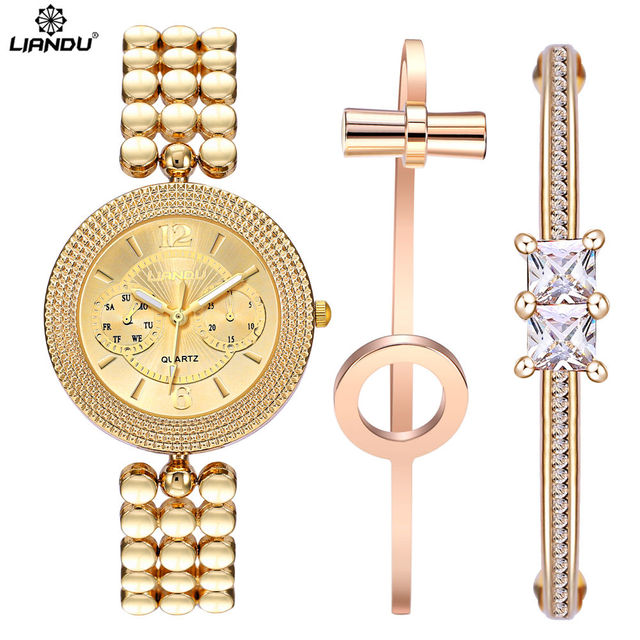 LIANDU Brand Women Quartz Watches CZ Diamond Jewelry Bracelet & Watch Set Gold S