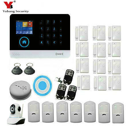YobangSecurity ANDROID IOS APP Wireless WIFI GSM SMS Home Security Burglar Alarm System With Wireless Siren Video IP Camera wireless smoke fire detector for wireless for touch keypad panel wifi gsm home security burglar voice alarm system