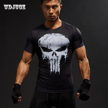 a49ce77d33 Super Hero Superman Dos Homens Imprimir Manga Curta Camiseta Punisher 3D  cosplay tshirt Crossfit Aptidão Camisas De Compressão T..