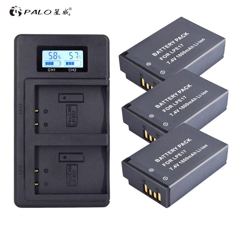 PALO LP-E17 LPE17 LP E17 Batterie Batterie AKKU + LCD Double Chargeur pour Canon EOS 200D M3 M5 M6 750D 760D T6i T6s 800D Baiser X8i