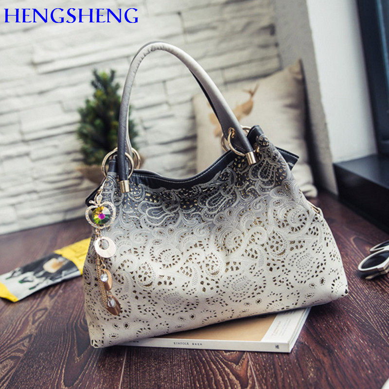 HENGSHENG Popular PU font b leather b font women shoulder bags with quality font b leather