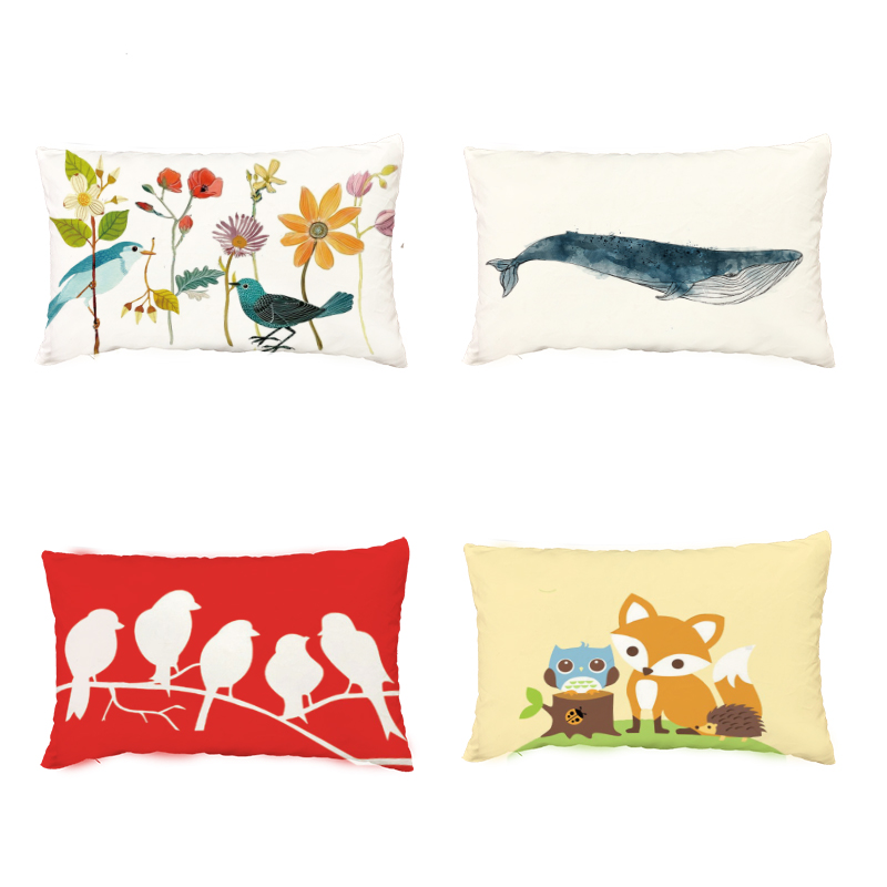 Lovely Narwhals Waist Cushion Cover 30*50 cm Polyester Peach Skin Material Whale Fox Bird Fish Print Home Decoration Pillowcase
