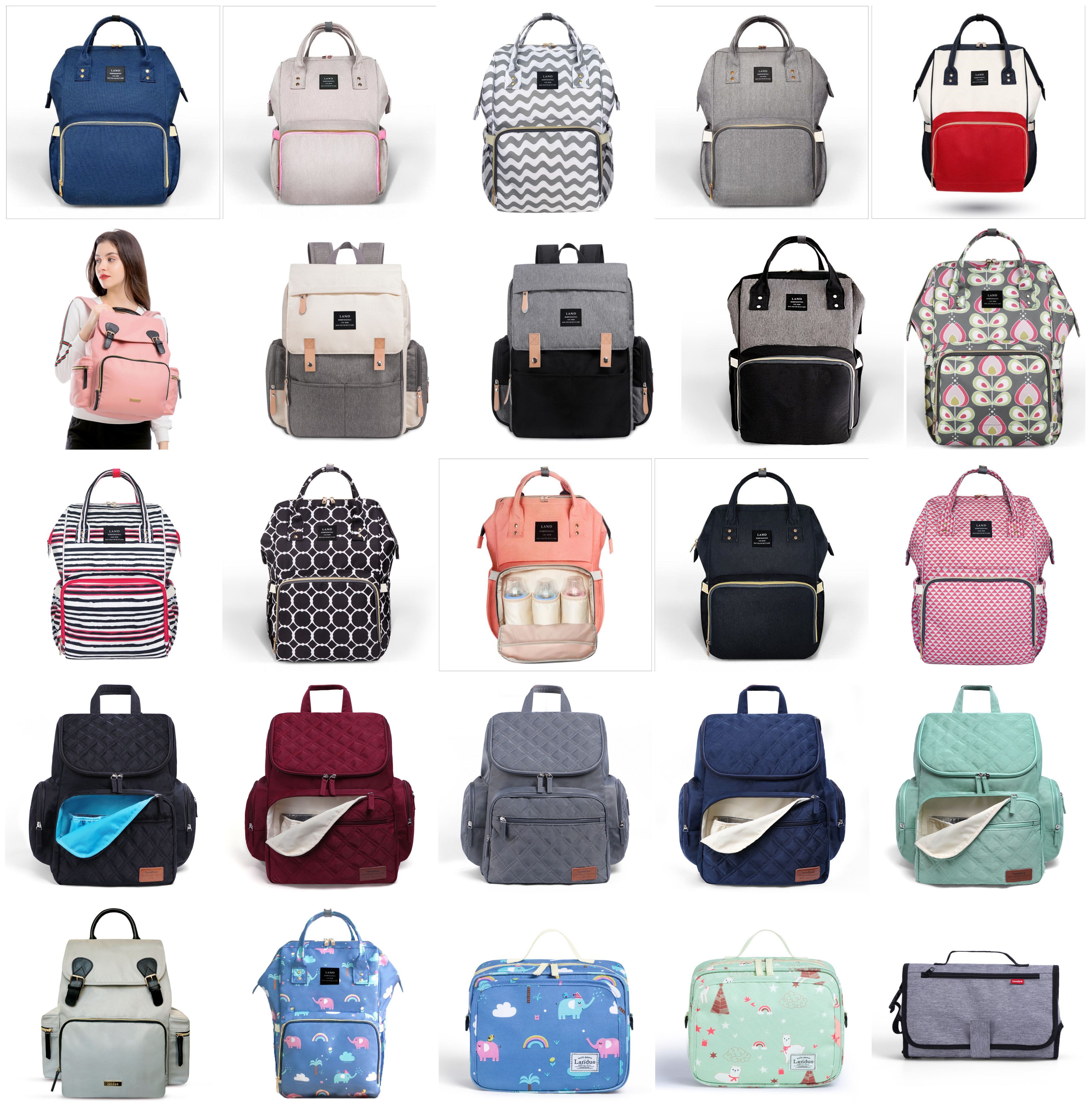 Authentic LAND Mommy Diaper Bags Mother Large Capacity Travel Nappy Backpacks with anti loss zipper Baby Authentic LAND Mommy Diaper Bags Mother Large Capacity Travel Nappy Backpacks with anti-loss zipper Baby Nursing Bags dropship
