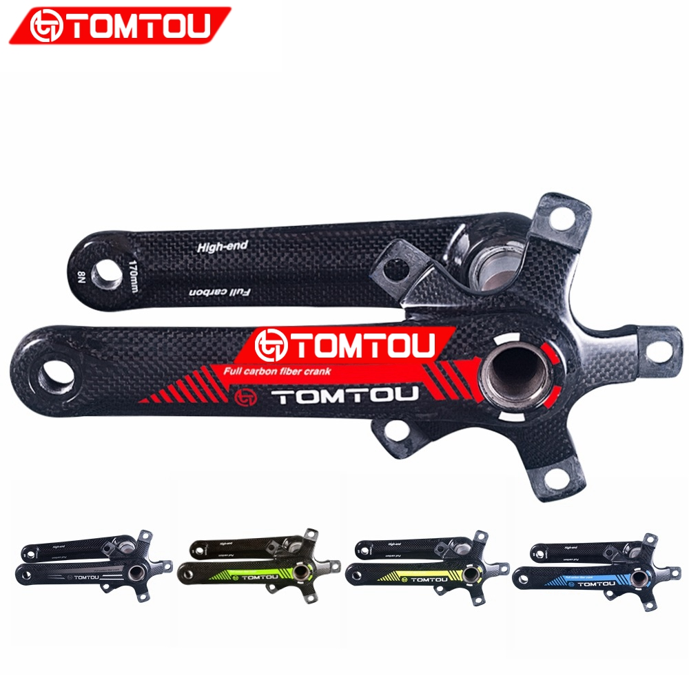 TOMTOU Carbon Fiber Bicycle Crank Road Bike Crankset 5 Claw Road Bike Crank BCD 110/130mm Lenght 170/175mm Bike Accessaries