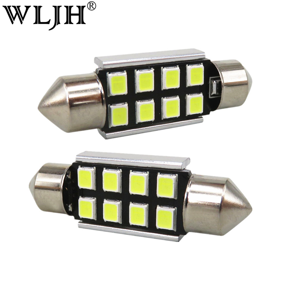 WLJH 10x LED 36mm White CANbus C5W Bulbs 2835SMD Interior Lights License Plate Light For BMW E39 E36 E46 E90 E60 E30 E53 E70 wljh white ice blue canbus error free car interior lighting trunk mirror led light kit for bmw e36 328i 325i 1992 1998 15pcs