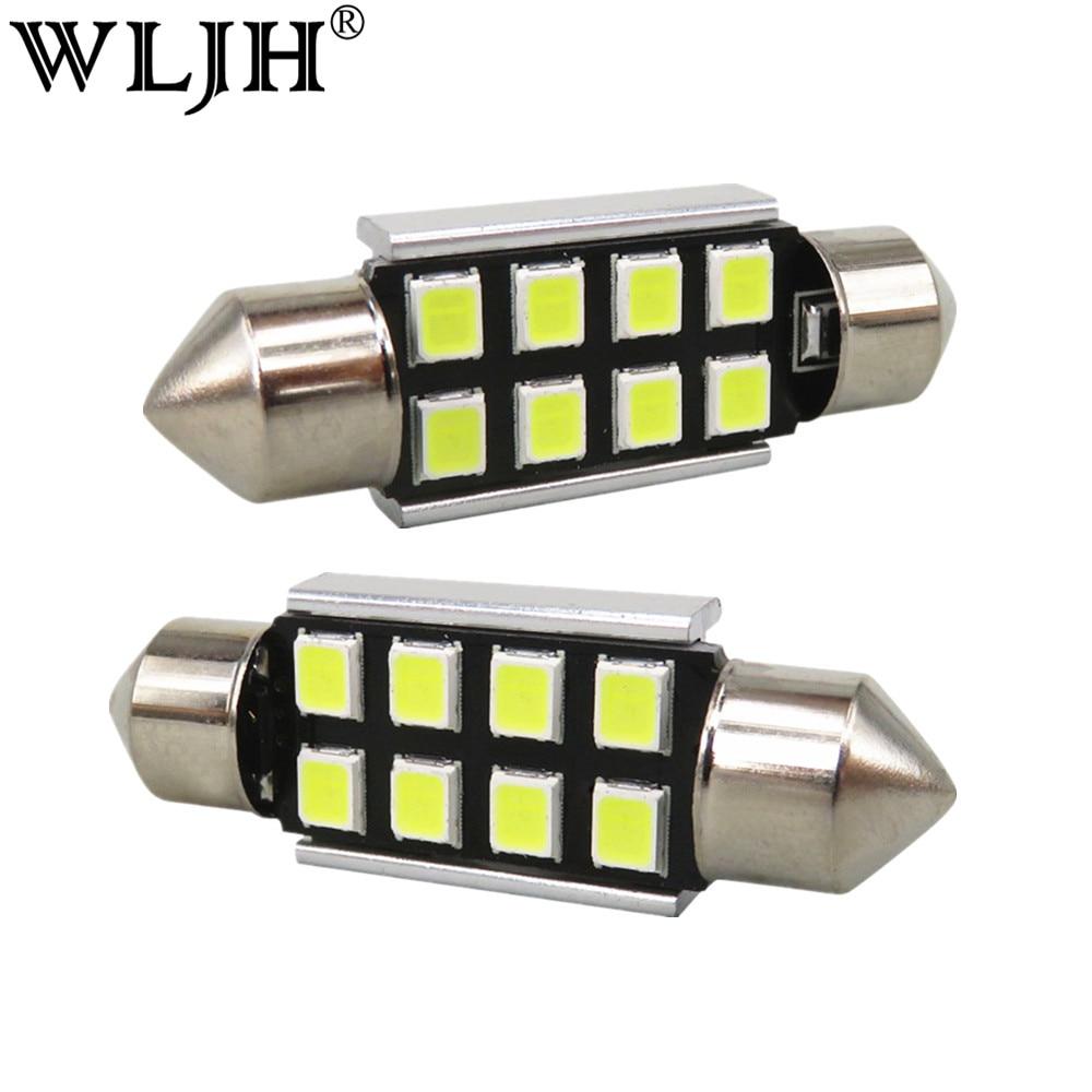 wljh lampada led canbus branca 10x 36mm c5w 2835smd luz interior para bmw e39 e36 e
