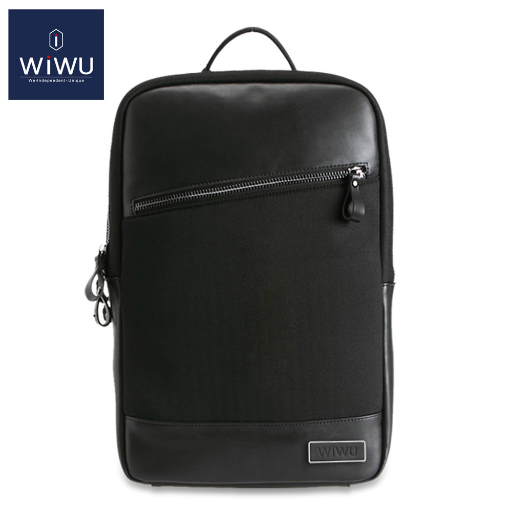 WiWU Black GENUINE LEATHER Women Men's Computer Backpack 13 14 15 15.6 Inch Bag for Dell 14 Waterproof Traveling Backpack 15 women backpack fashion pvc faux leather turtle backpack leather bag women traveling antitheft backpack black white free shipping