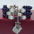 Blue sand stone beads bracelets for women opal beads bracelet jewelry with purple pendant vintage jewelry 0706