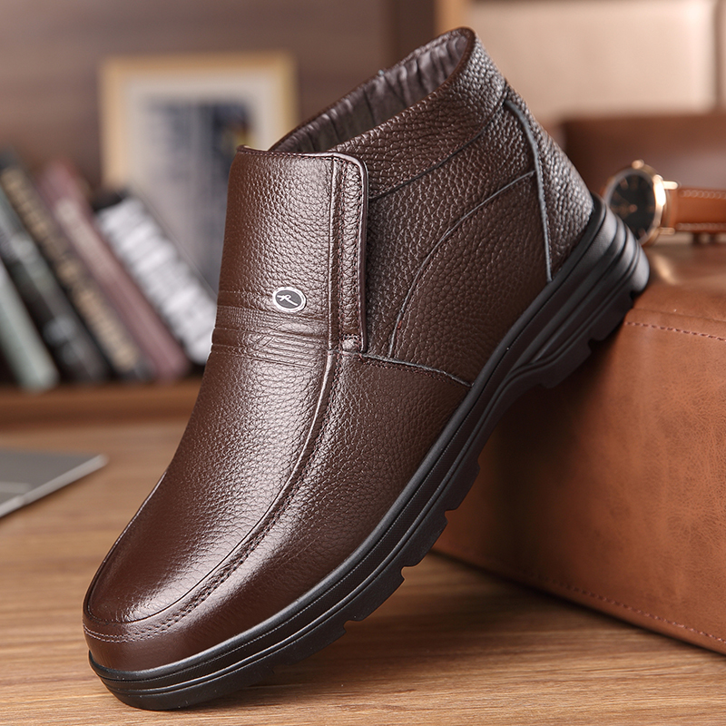 OSCO 2018 New Handmade Men Genuine Leather Winter Boots High Quality Snow Men Boots Ankle Boots For Men Plus Big Size 38-46 dekabr 2018 new handmade men genuine leather winter boots high quality snow men boots ankle boots for men plus big size 36 47