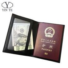 YINTE New Men Leather Passport Cover Travel Passport Holder Bag Passport Case Wallet License Credit CardHolder T8845D