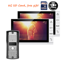 FREE SHIPPING New 9″ Color Recorder Monitor Video Door phone Intercom System 2 White Screens + Doorbell Camera + 8G SD IN STOCK