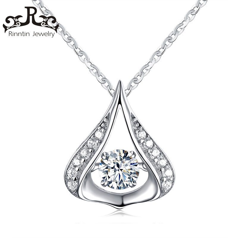 Real S925 Sterling Silver Luxury Water Drop Crystal Pendants for Elegant Lady 925 Jewelry Charm Necklace Jewelry TSN39