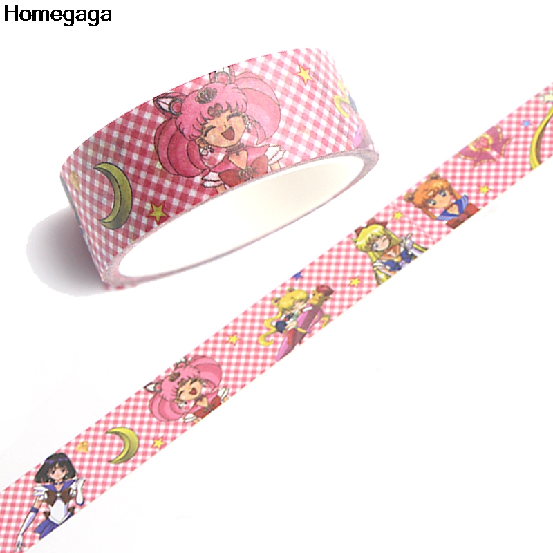 Homegaga Sailor moon funny album fashion cartoon Washi tape diy Scrapbooking Adhesive Masking Printed kids stickers D2081 in Stickers from Home Garden