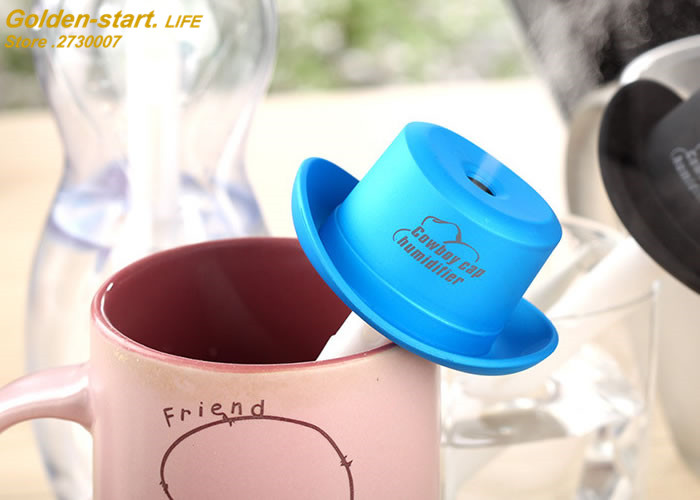 Humidifier USB 5V 4 Colors Cowboy Hat Cap Ultrasonic Fogger Mist Maker Aroma Diffuser Difusor Aroma Diffuser Humidificador chemo skullies satin cap bandana wrap cancer hat cap chemo slip on bonnet 10 colors 10pcs lot free ship
