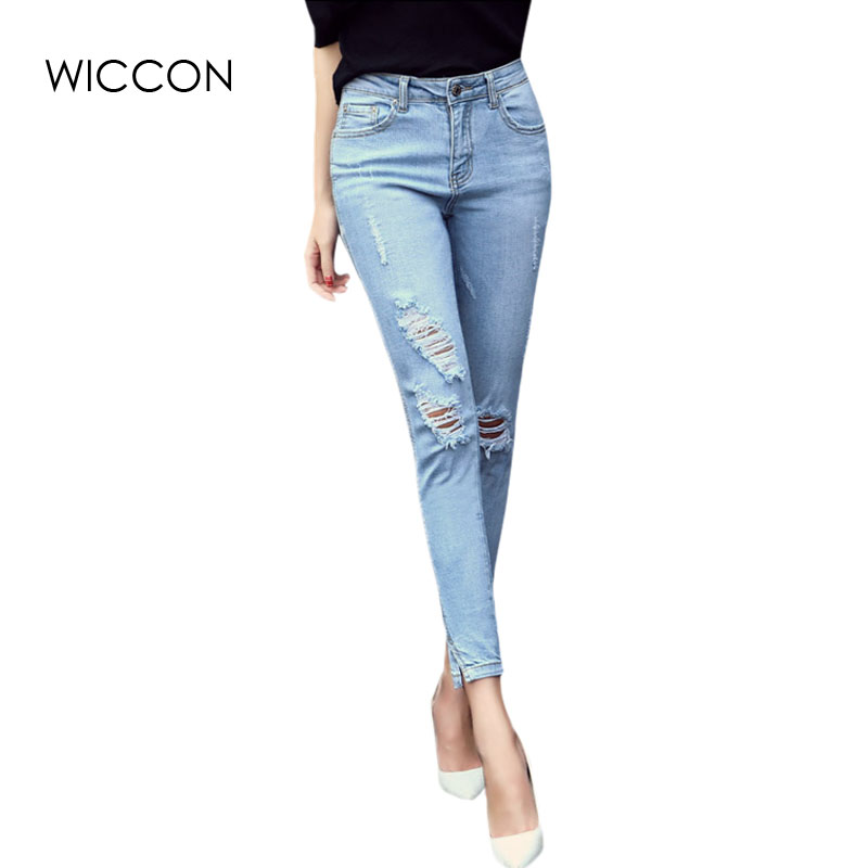 2017 new fashion spring Women Denim Skinny slit Pencil Pants holes high Waist Stretch Jeans Trousers Women's pants WICCON