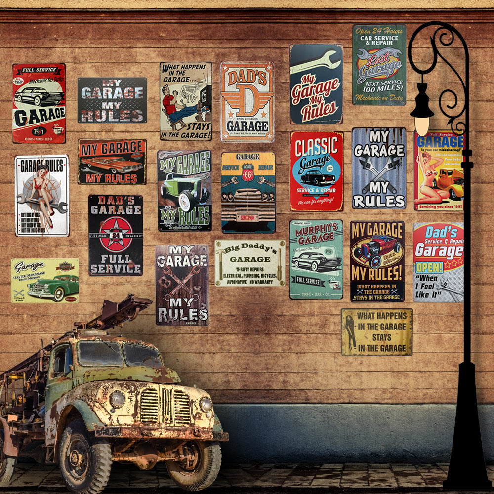 Garage und vintage auto metall Zinn zeichen malt vintage home decor ...