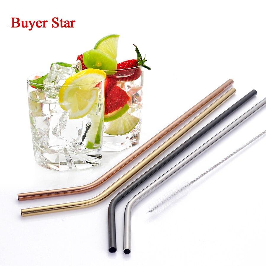 100pcs Stainless Steel Metal Drinking Straws Straw 20 Cleaner Brush Set For 20oz 30oz Yeti Rambler