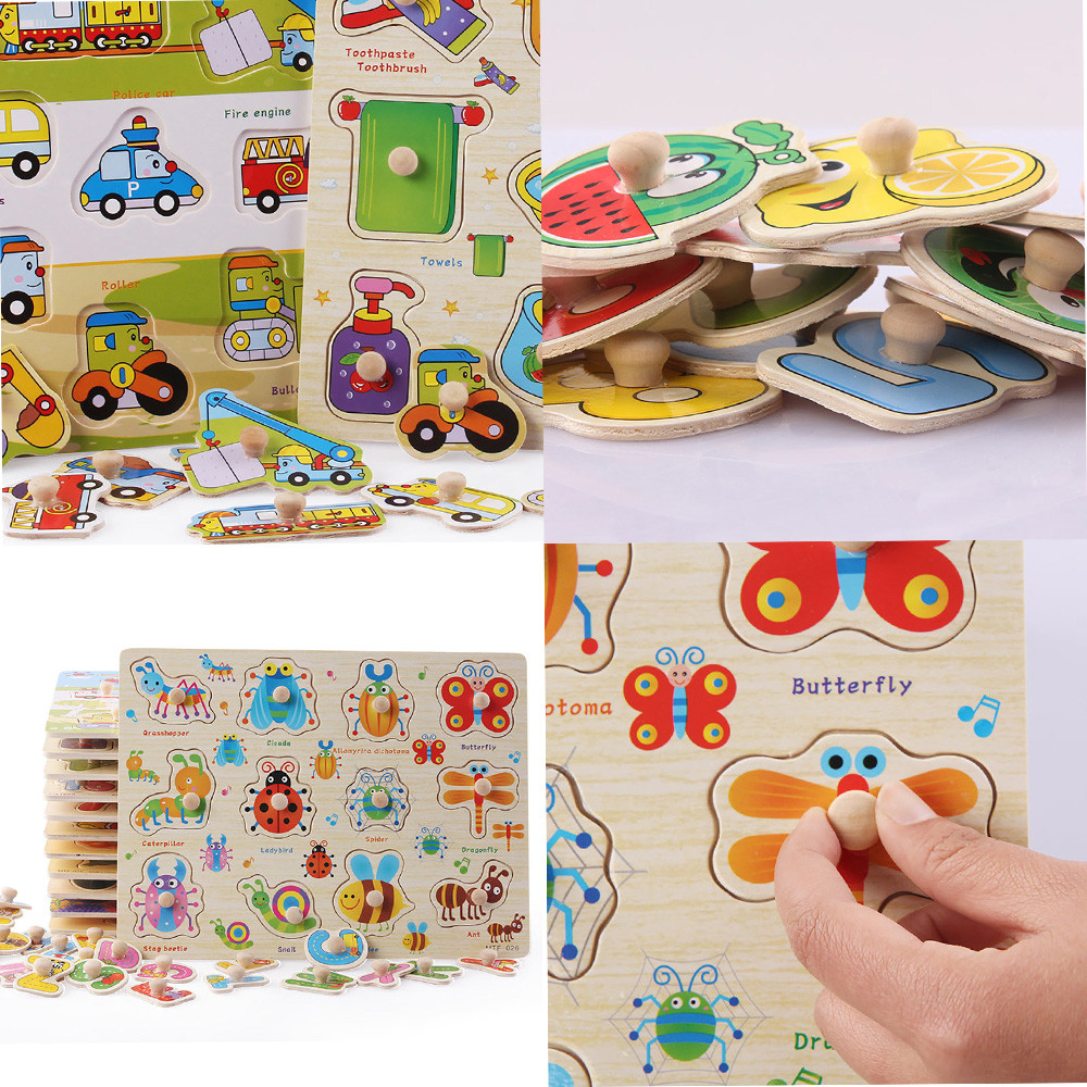 New baby learning toys wooden puzzle hand scratch board ...