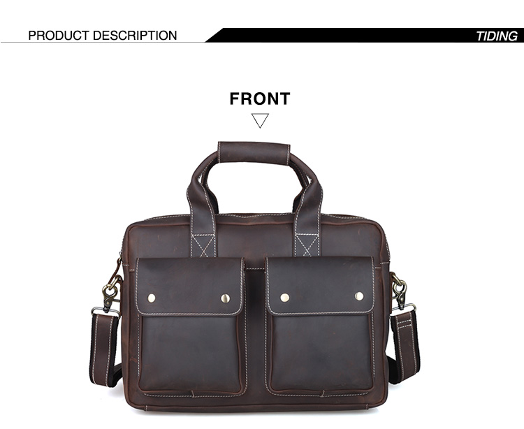 TIDING Genuine Leather Briefcase Business Tote Bag 14″ Laptop Notebook Bag Retro Style Document Bag Men Brown 1123