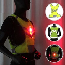 Cycling Vest Fluorescent Yellow LED Safety Jackets High Visibility LED Reflective Safety Vests Coat for Night Running Cycling