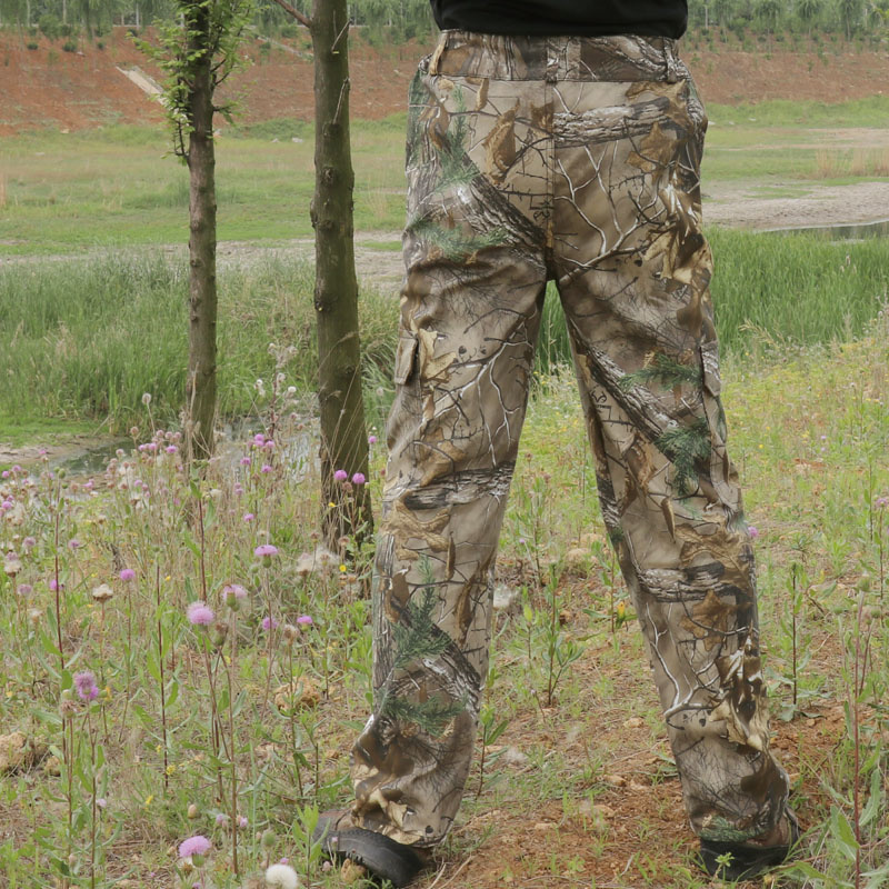 Large size multi-pocket cotton breathable camouflage pants men's hiking fishing hunting trousers for Autumn Winter outdoor B1239