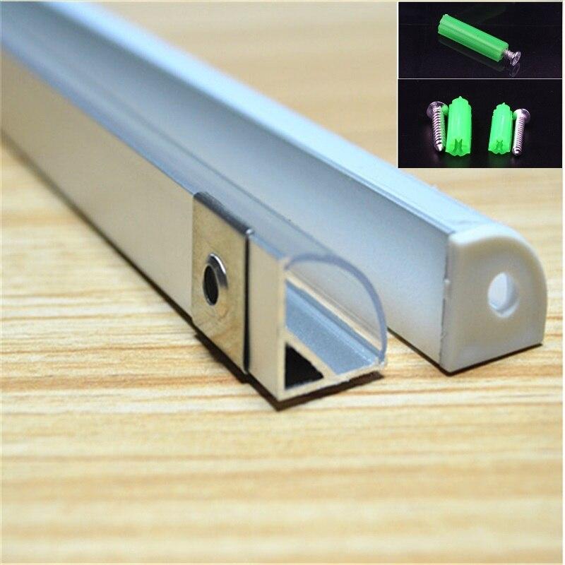 2-30 pz/lotto 0.5 m/pz 45 gradi angolo profilo in alluminio per il 5050,3528 ha condotto la striscia, milky/copertura trasparente bar canale per 10mm pcb