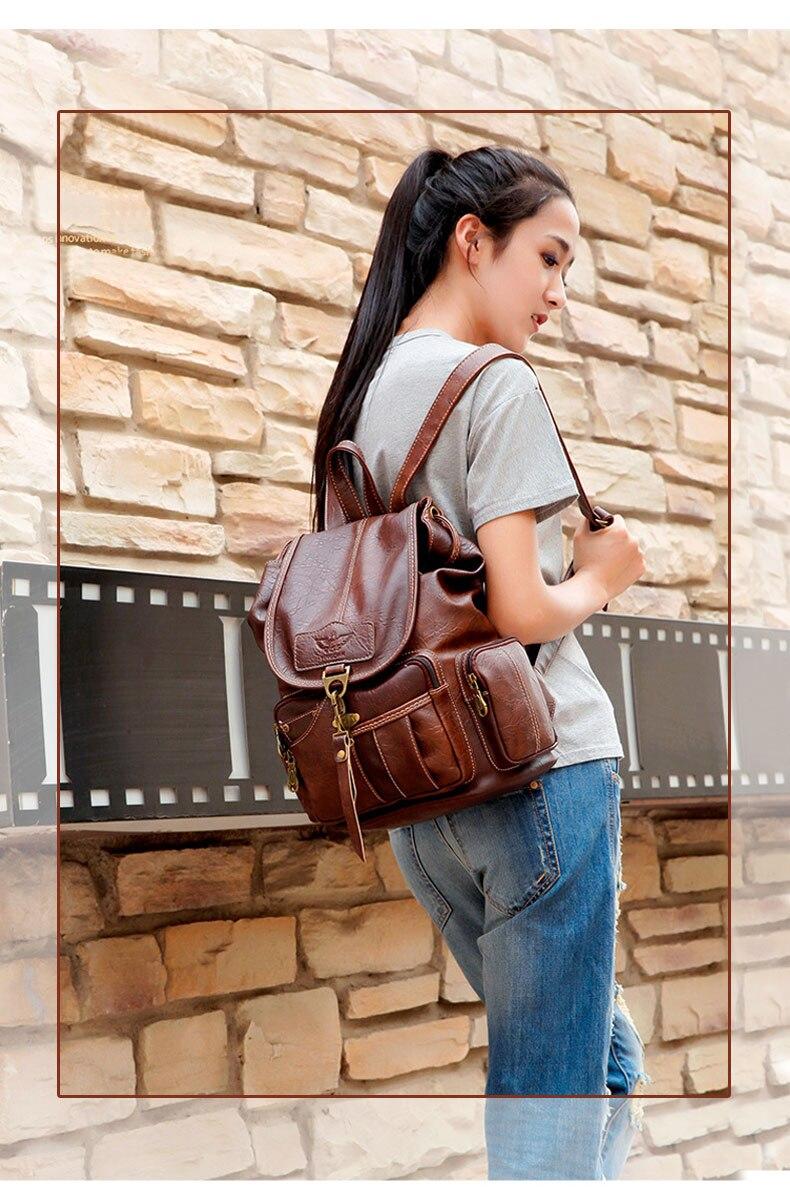HTB13.1wbdfvK1RjSspoq6zfNpXav Vintage Women Backpack for Teenage Girls School Bags Large Drawstring Backpacks High Quality PU Leather Black Brown Bag XA658H