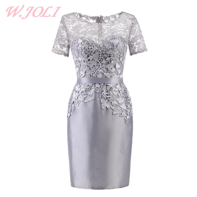 14d2595807 W.JOLI O-NECK Short Evening Dress Elegant Lace Satin Appliques Silver Bride  Banquet Prom Gown Wedding Party Dresses