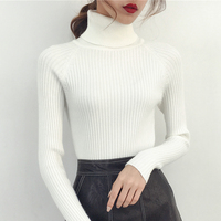 Female Turtleneck Sleeve Head Short Winter Coat Slim Long Sleeved All Match Harajuku Korean Students Bottoming