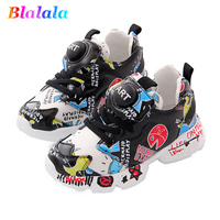 2019 Spring Summer girls sneakers boys casual shoes kids quality shoes children skate shoes doodle genuine leather 3 to 14 yrs