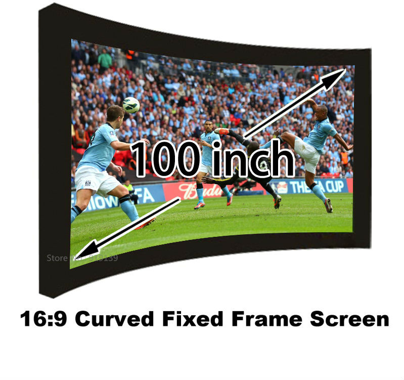 Amazing Picture 100 Inch Vide View 16:9 Curved Fixed Frame Projector Screen Matt White Projection Screens With 80mm Black Border good gain cinema projection screen 16 9 curved fixed frame projector screens 120 inch hd matt white suit for 3d cinema display
