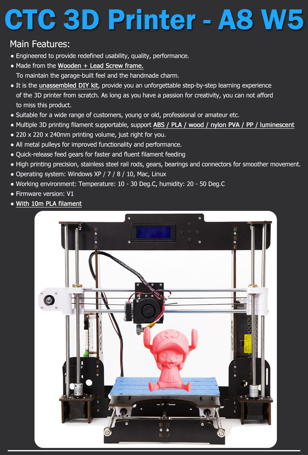 CTC-W5 3D Printer with Power Failure Detection and Resume Printing Supports SD Card Data Input 6